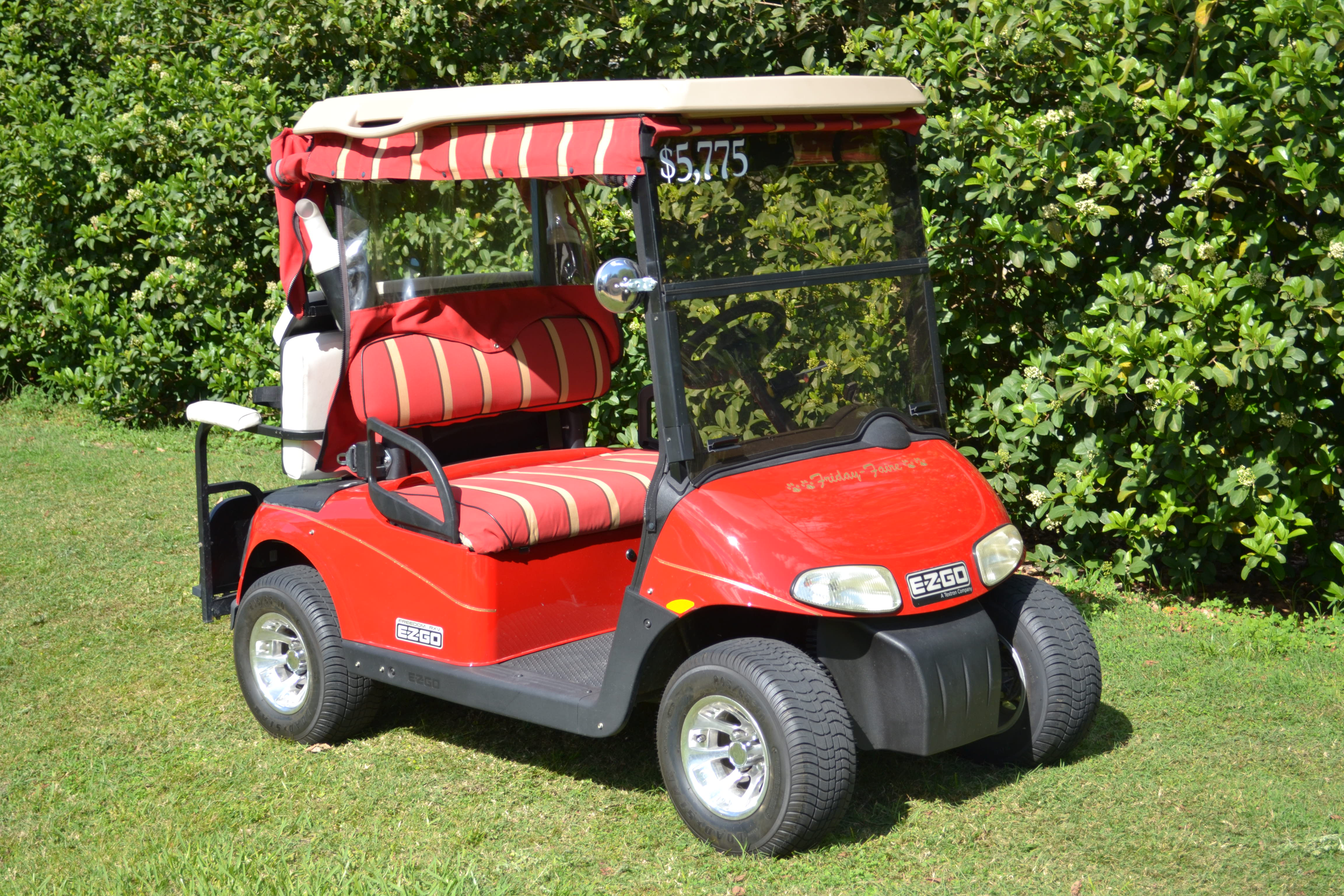 2009 EZ-GO: $5,775.00; Converted from 4-12 volt to 6-8 volt batteries for more distance; 4-seat capable with fold-N-go seat; Still can carry golf bags with no extension; 1 owner cart; Custom Rims